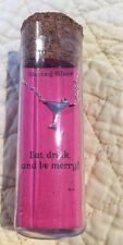 """Sterling Silver Cocktail 18"""" Necklace """"Eat, Drink And Be Merry"""""""