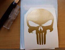 "3"" GOLD PUNISHER SKULL DECAL STICKER VINYL American Sniper Racing Cross Bones"