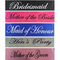 Black Wedding Sashes Hens Night Engagement Bride To Be Bridesmaid Maid of Honour