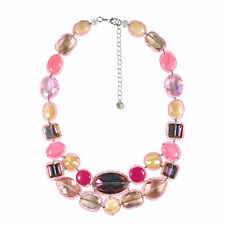 Mix Stones Statement Necklace Pink Twinkle Crystal and