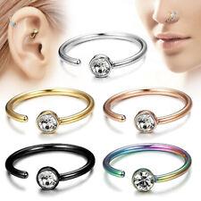 5pcs Nose Ring Hoop Cartilage Ring 18 Gauge 316L Surgical Steel CZ Gem Earring