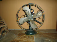 """Antique GE Brass Blade handle Fan 16"""" Military Green vintage 3 speed for Repair"""