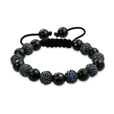 Black Faceted Onyx Pave Crystal Shamballa Inspired Bracelet Black Cord String