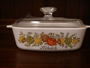 Rare CorningWare Vintage Spice Of Life Corning Ware, Width:7 in Height: 2 in