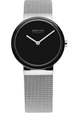 Bering Womens 10729-042 Ceramic Black Dial Stainless Steel Mesh Band SS Watch