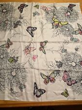 $85 Echo silk butterfly  square scarf A29