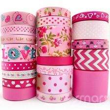 "20Yards Assorted Grosgrain Ribbon Lots 20 Styles 3/8""--1.5"" Pink Theme Craft Bow"