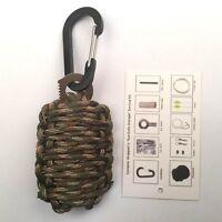1pcs paracord survival  carabiner  fishing kit  with sharp eye knife dark color