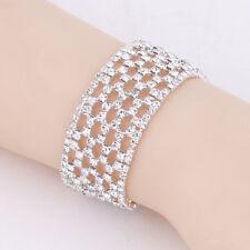 Diamante Silver Unique Oblong Crystal Rhinestone Wedding Bridal Bangle Bracelet
