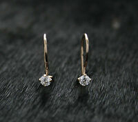 585 Russian Rose 14k Red Gold Delicate 3mm White Fianit Hook Earrings Gift Boxed