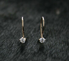 585 Russian Rose Gold 14ct Delicate 3mm White Fianit Hook Earrings Gift Boxed