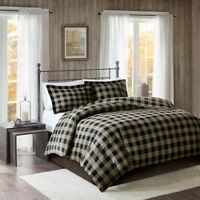 Cozy 100% Cotton Flannel Cabin Tan Bk Red 3 pc Checker Duvet Cal King Queen Set