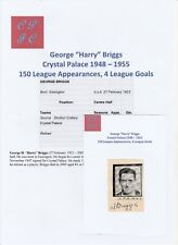 HARRY BRIGGS CRYSTAL PALACE 1948-1955 RARE ORIGINAL HAND SIGNED CUTTING/CARD