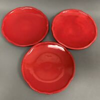 Tracy Porter Jolly Ol Snowy Salad Plates Red Lot of 3