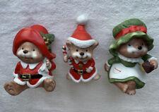 Vintage Homco Christmas Bear Santa's Helper Figurines - 5600 -Christmas