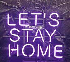 """Let's Stay Home 14""""x10"""" Neon Sign Lamp Light Beer Bar With Dimmer"""