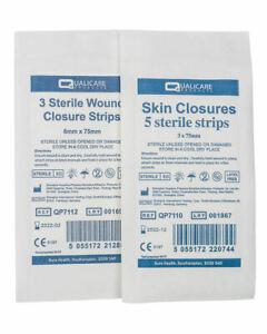 Sterile Steri Strips in 3 or 6mm x 75mm, Suture Stitch Wound Closure Strips