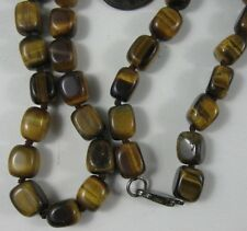 Vintage Tiger Eye Stone Necklace Sterling Clasp 35""