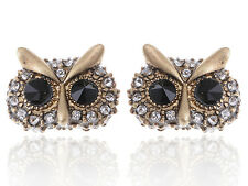 Fashion Gold Antique Black White Rhinestone Accented Owl Earrings Stud Xmas Gift