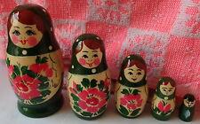 "Khokhloma / Hohloma     WOOD Hand painted  RUSSIAN NESTING DOLL 5  PCS  4.5"""