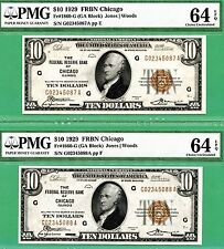 TWO CONSECUTIVE 1929 $10 FRBN's - BOTH PMG CU 64 with EPQ - Fr 1860-G CHICAGO