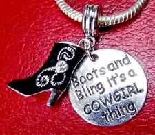 COWGIRL BOOTS CHARM for EUROPEAN BRACELET Bling Cowgirl Thing or PENDANT +POUCH