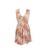 Oliver Bonas Grey Orange Floral Pretty Summer Fit & Flare Dress Size 10