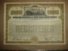 Evansville Indianapolis & Terre Haute Railroad Bond Stock Certificate
