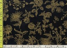 Gold Metallic Floral Illustrations Field Notes Black Cotton Fabric BTQY 22.5 cm