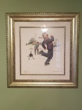NORMAN ROCKWELL SIGNED GRANDPA AND ME W/DOG SKATING 2012 FRAMED 159/450