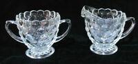 Antique Vintage Depression Glass Art Deco 1930s Hobnail Sugar Creamer Tea Coffee