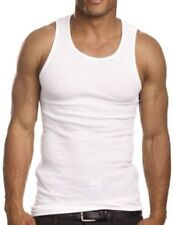 2 Men's Super Power White A-Shirts Rib Tank Top Muscle Shirts Size 4X-Large