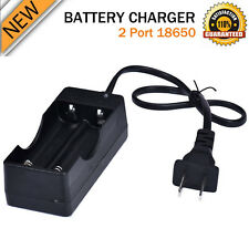 AC 110V 220V Dual Charger For 2 18650 3.7V Rechargeable Li-Ion Battery US Plug