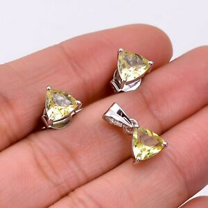Natural Citrine 925 Sterling Silver Women Stud Earrings & Pendant Jewelry Set