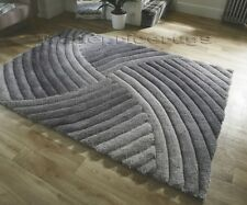 Flair Rugs Verge Furrow Shaggy Hand Carved Rug Grey 160x230cm (5x8')