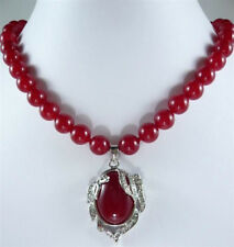 "natural Charming 8mm Red Ruby Round Beads Gems Oval Pendant Necklace 18"" on sale"
