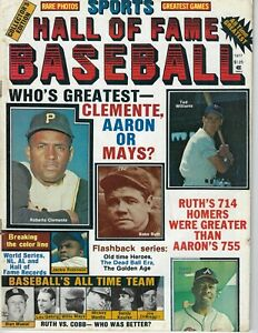 1977 Hall of Fame Baseball magazine Clemente, Aaron, Ted Williams, Babe Ruth VG