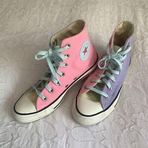 Converse Chuck Taylor Womens 7 Colorblock 90s Throwback Purple Pink Green Hi Top