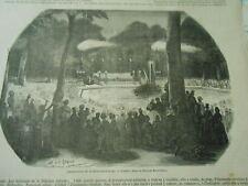 Gravure 1875 - Anniversaire de la Révolution Belge Concert parc de Bruxelles