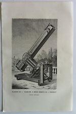 TELESCOPE A MIROIR ARGENTE DE L.FOUCAULT GRAVURE  Sciences  XIXème