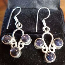 SUNSTONE Sterling Silver Black blue EARRINGS