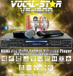 VOCAL-STAR VS-1200 BLUETOOTH CDG DVD KARAOKE MACHINE 2 MICROPHONES, 150 SONGS A