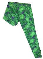 LuLaRoe OS Leggings #986 - Purple & Green on Navy Background - One Size
