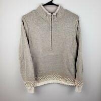 WOOLRICH light brown half zip ramie fair isle sweater Women's L Large EUC