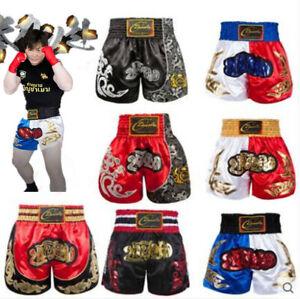 Muay Thai Boxing Shorts Satin Grappling Cage Kick Fighting Pants Men Gym Trunks