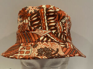 Vtg Easy To Roll Hat Red Orange Floral Hawaiian Bucket Fishing Crushable Sz S