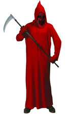 MENS RED DEVIL DEMON COSTUME HALLOWEEN LONG HOODED ROBE OUTFIT S M L NEW