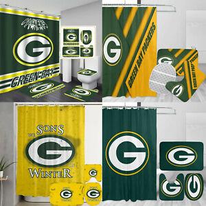Green Bay Packers 4PCS Bathroom Set Shower Curtain Toilet Lid Cover Non-Slip Mat
