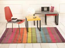 Illusion Candy Luxury Striped Multi Coloured Wool Rug in various sizes