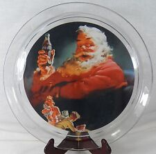 "Coca Cola Coke SANTA PLATE 13"" Round Platter Indiana Glass 1993 Authorized + Box"